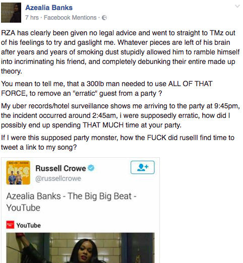 Azealia Banks Responds To Rza S Statement About Russell