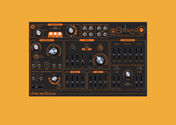 Dreadbox's Medusa is a patchable $500 mono synth with sequencer